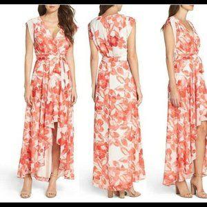 Eliza J Surplice OBI High Low Floral Chiffon Dress